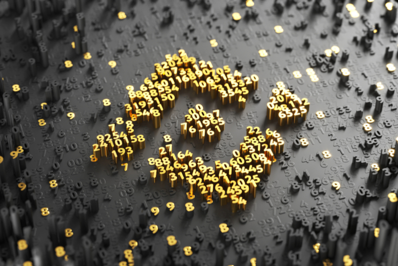 3D Illustration of Gold Binance Coin Logo on the Black Digital Background With Scatter of Digits