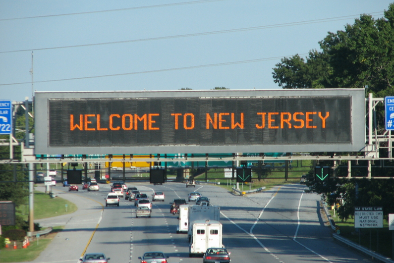 Welcome to New Jersey highway sign