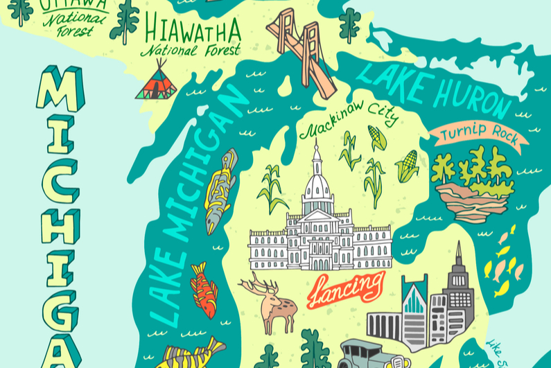 Illustrated map of Michigan