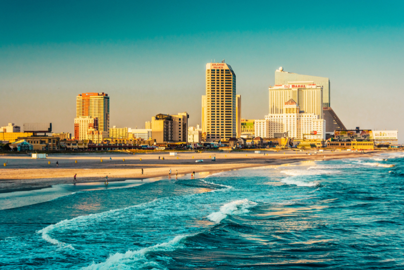 The skyline and Atlantic Ocean in Atlantic City, New Jersey.
