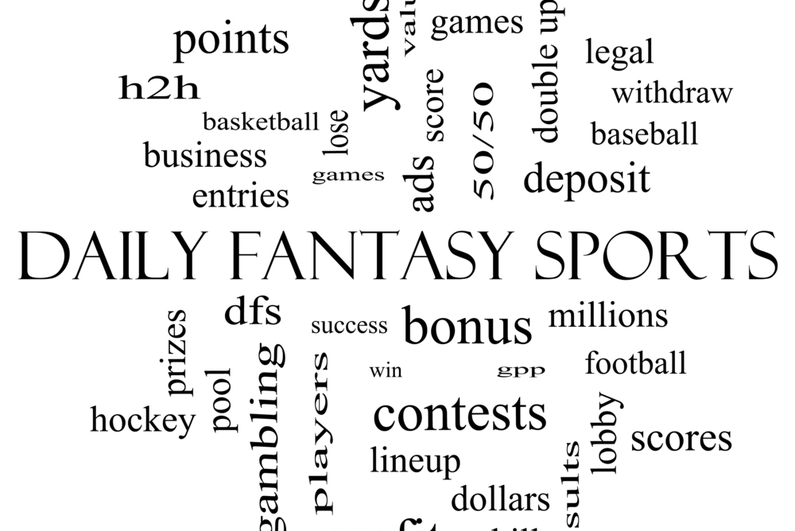 Daily Fantasy Sports Word Cloud Concept in black and white with terms such as games, lineups, win, money and more.