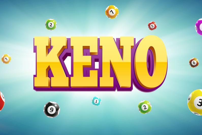 Keno logo with lottery balls