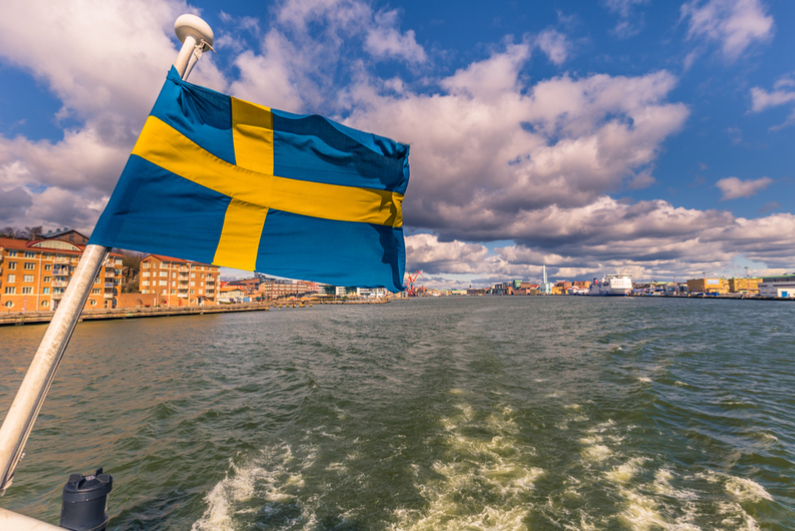 Flag of Sweden in Gothenburg, Sweden