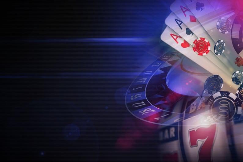 Dark Purple Casino Games 3D Rendered Illustration Concept
