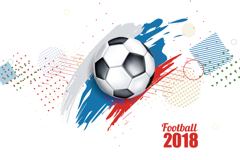 vector illustration of a football cup 2018. design of a stylish background for the soccer championship