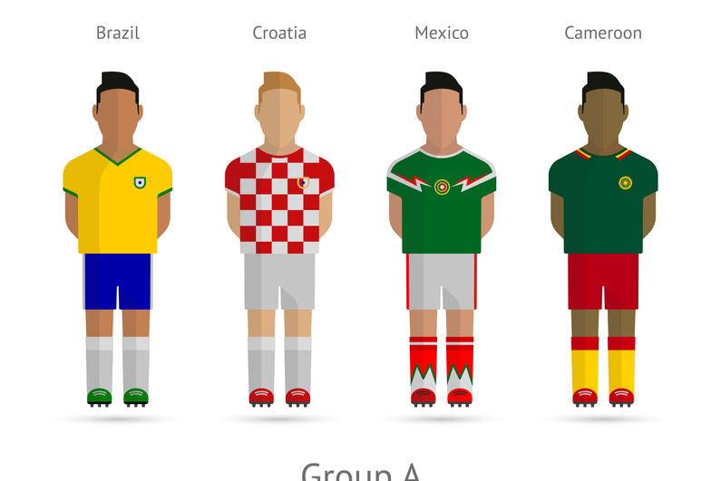 World Cup Group A - Brazil, Croatia, Mexico, Cameroon. Vector illustration