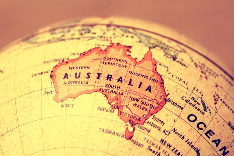 Australia on world map