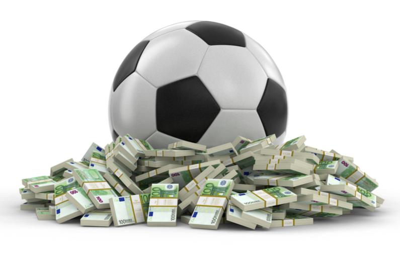 Soccer football with dollars