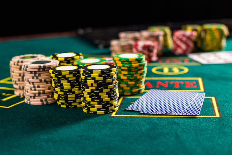 Poker chips on poker table