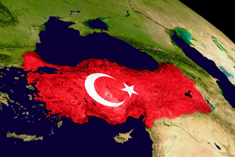 Map showing Turkey