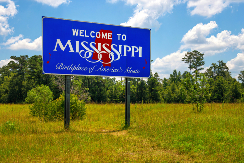 """Mississippi welcome sign with the words """"Birthplace of America"""