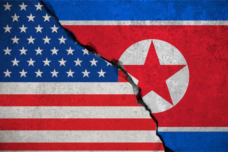 US and North Korean flags