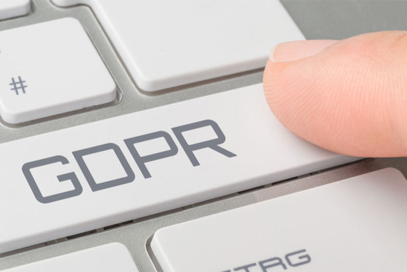 A keyboard with a button labeled GDPR