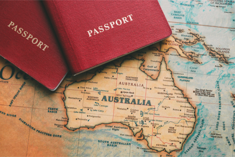 Passports on map of Australia