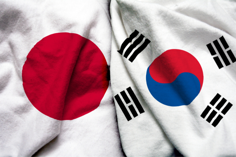 Japan and South Korea flags together
