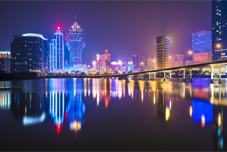 Macau, China, skyline showing high-rise casino resorts.