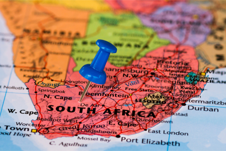 Blue pushpin on map of South Africa