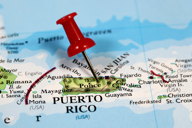 Pin marking location of Puerto Rico in Caribbean