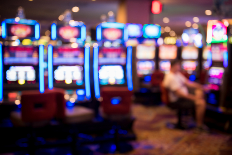 Blurred image of slots in a casino
