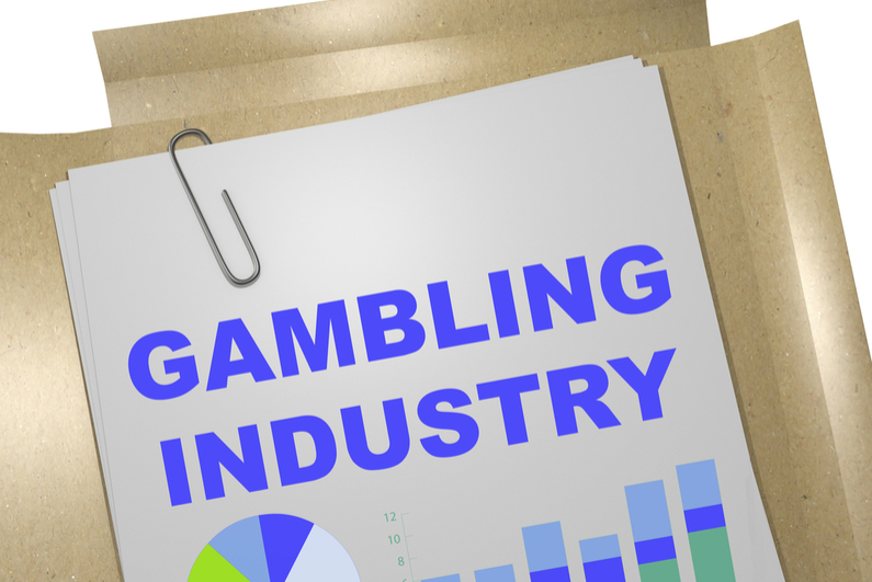 "3D illustration of ""GAMBLING INDUSTRY"" title on business document"