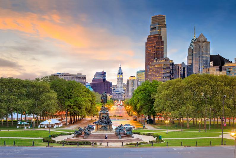 Beautiful Philadelphia skyline at sunset
