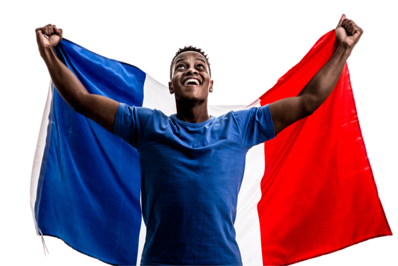 Fan holding the flag of France