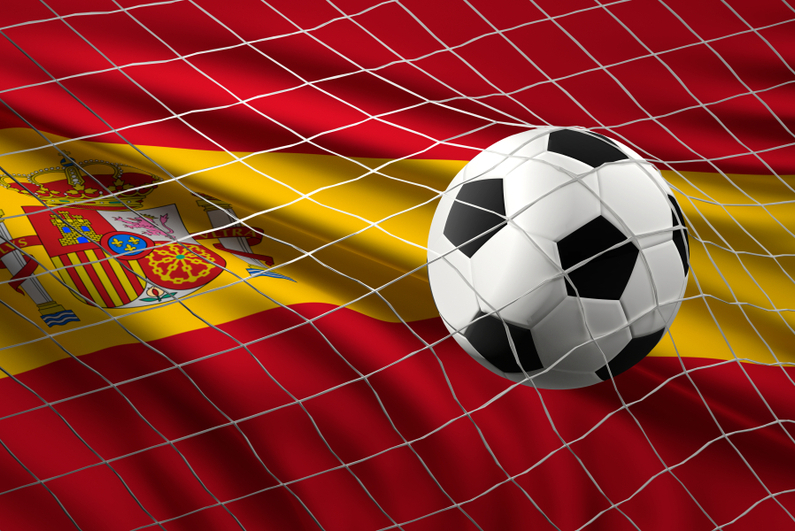 Soccer flag with ball and flag of Spain