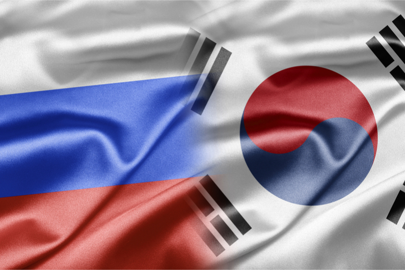 Flags of Russia and South Korea