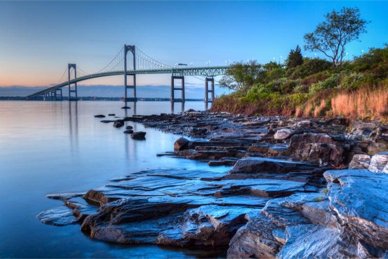 Newport Bridge in Rhode Island at sunrise