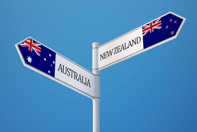 Signpost with Australia and New Zealand flags