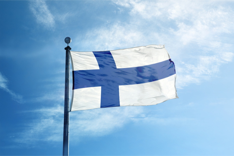 Flag of Finland on mast
