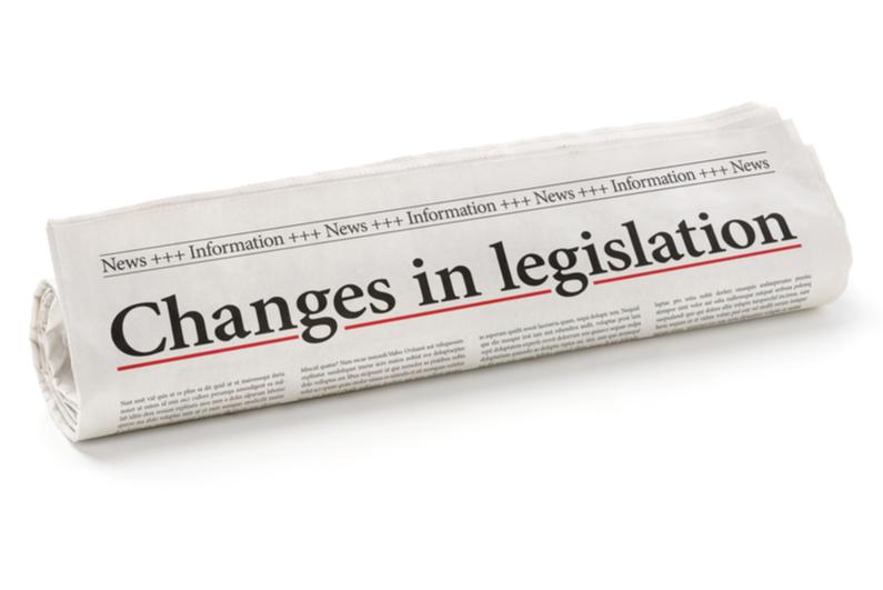 Newspaper with headline reading Changes in legislation