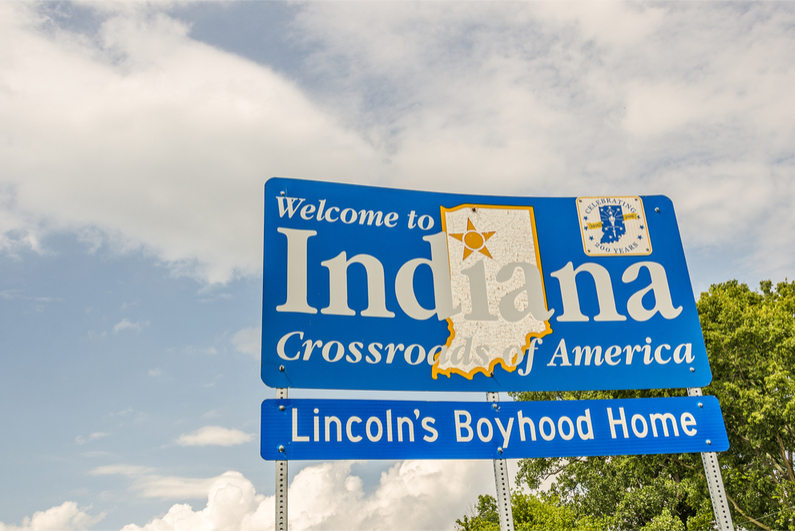 Welcome to Indiana highway sign