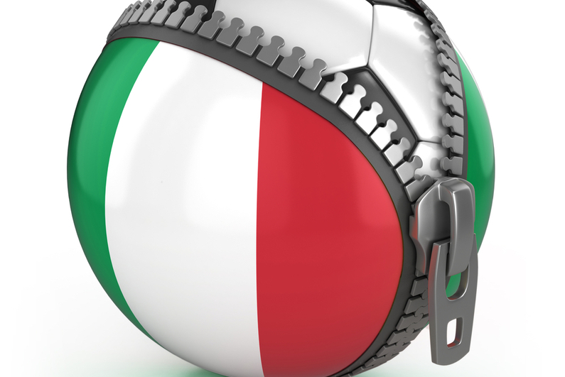 Football in an unzipped bag with Italian flag print