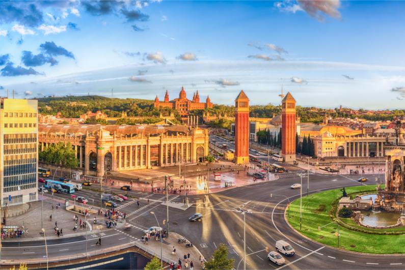 Panoramic view of Placa d'Espanya, a major landmark in Barcelona