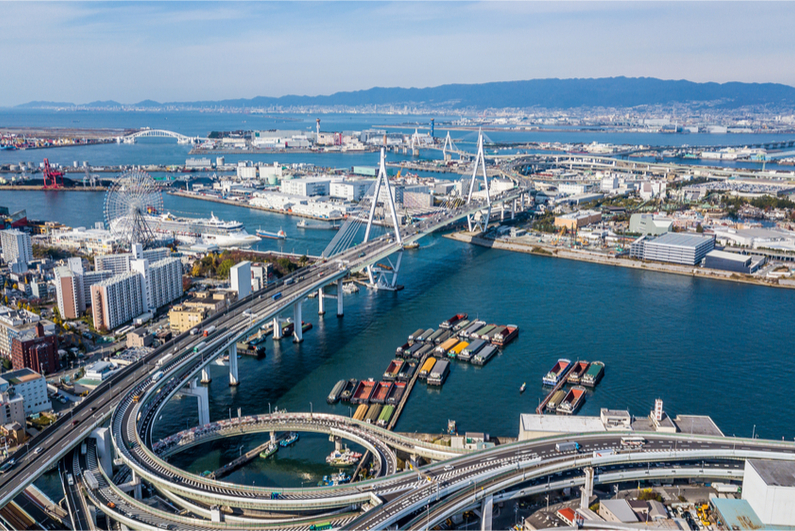 Aerial view port of Osaka City, large port city and commercial center on the Japanese island of Honshu, Osaka, Japan.