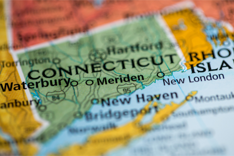 map close-up showing state of Connecticut