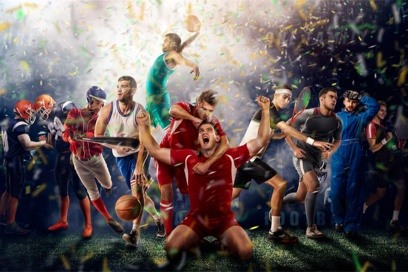 Successful football, soccer, basketball, baseball, tennis players, cars, boxing fighters on professional 3D basketball court arena with confetti