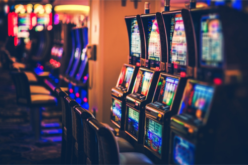 rows of slot machines