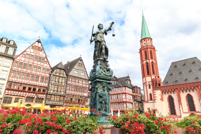 Justitia statue in Frankfurt, Germany