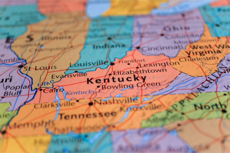 Kentucky highlighted on map