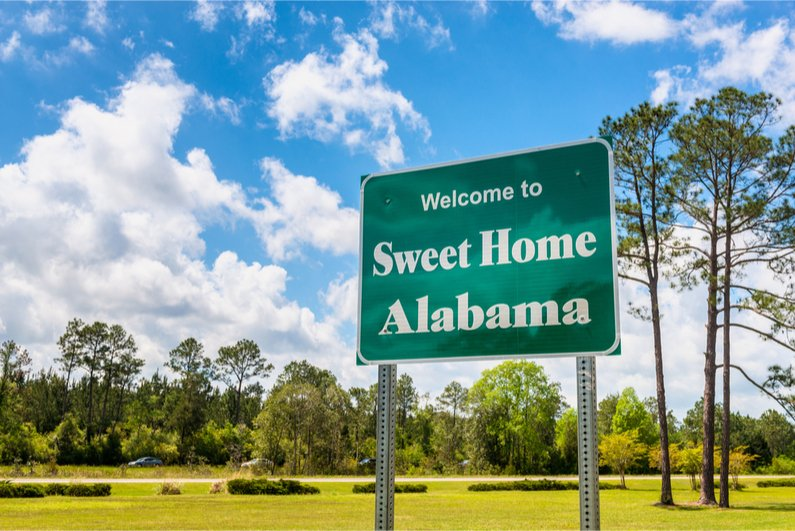 Welcome to Sweet Home Alabama Road Sign along Interstate 10