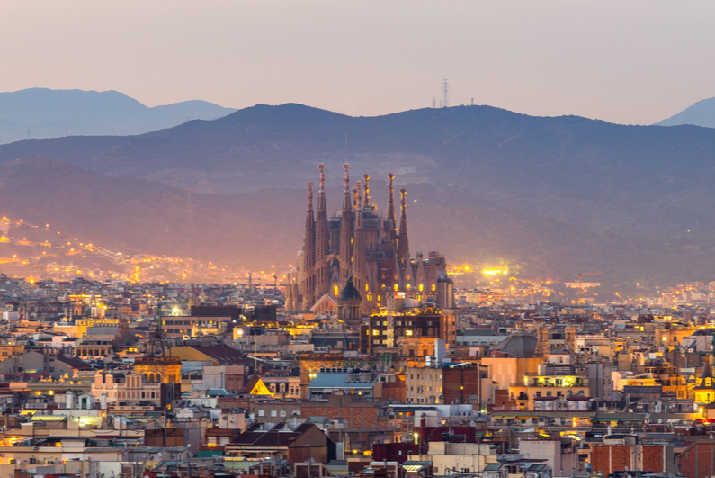 Aerial Panorama view of Barcelona city skyline