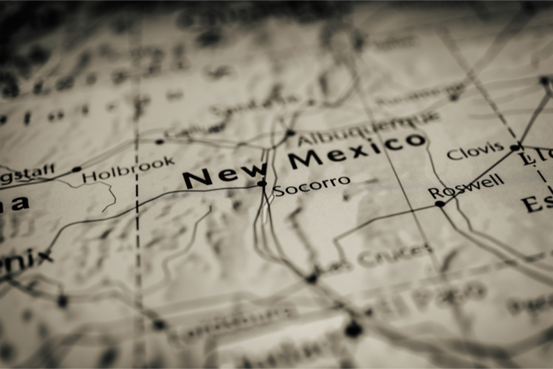 New Mexico on a map