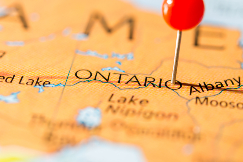 Pushpin marking Ontario on map
