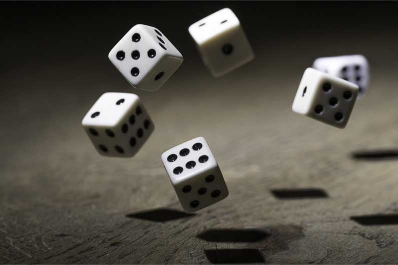 Dice in mid air