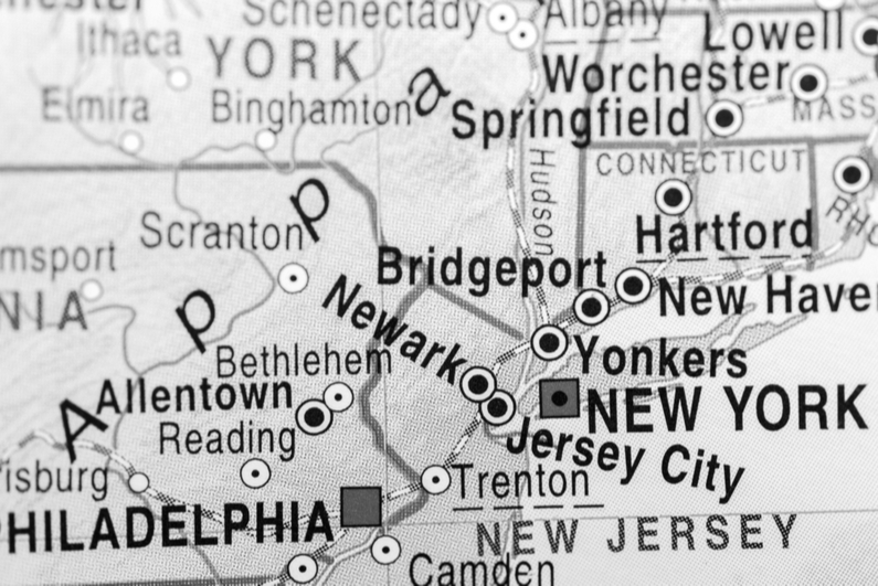 Map showing New Jersey and New York City