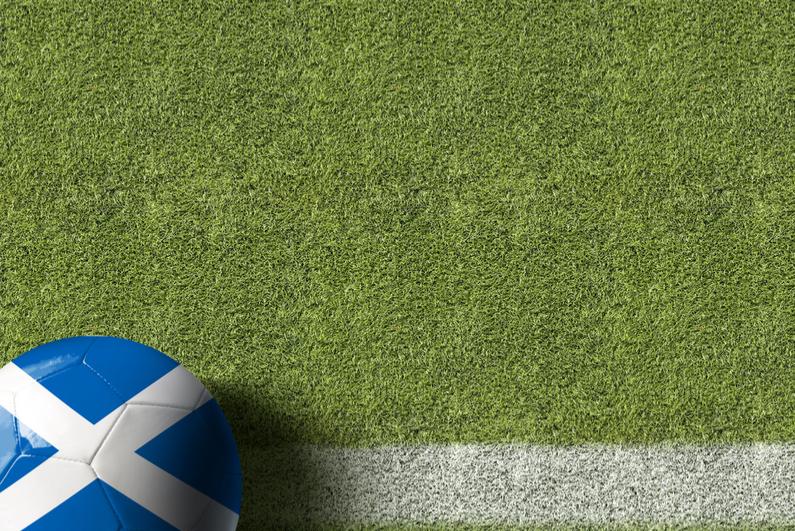 Scotland ball on a soccer field