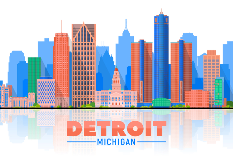Detroit, Michigan (USA) city skyline vector illustration on white background