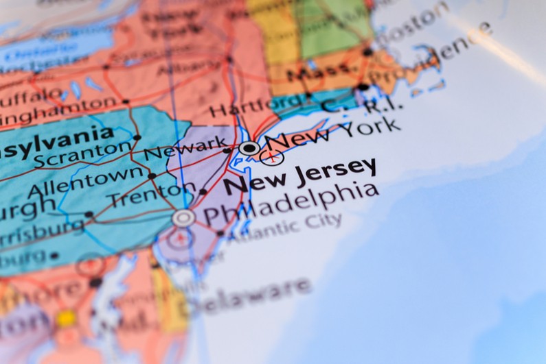 New Jersey and neighboring states on the map